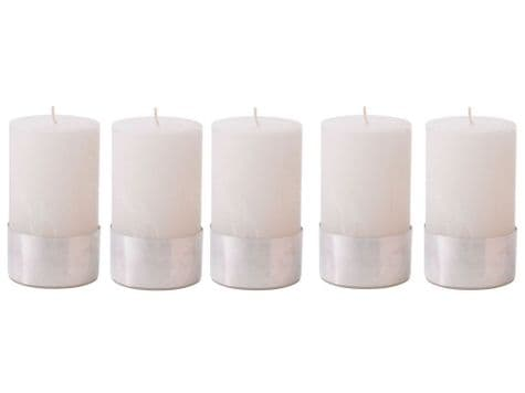 white pillar candles   candles with metal base   Libra Rustica candles